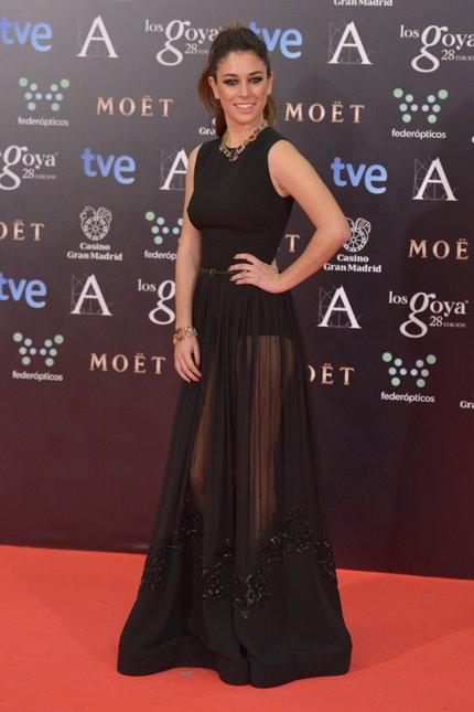 Foto de Blanca Suárez vestida de negras transparencias donde se entreveía su braguita faja