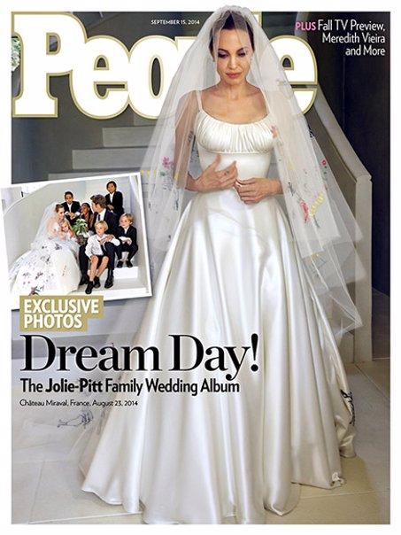 Angelina Jolie vestida de novia en Hello y People