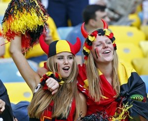 Belgium fans wait for the start of the 2014 World Cup Group H soccer match betwe