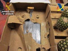 Foto: Guardia Civil y Agencia Tributaria se incautan de más de 40 kilos de cocaína oculta en cajas de piñas (GC)