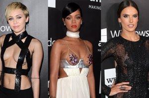 Foto: Rihanna y Miley Cyrus, sus escotes eclipsan las transparencias de Alessandra Ambrosio (CORDON PRESS/GETTY)
