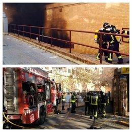 Foto: Un incendio en el parking obliga a evacuar el mercado municipal de Benicalap (BOMBEROS AYTO VALENCIA)