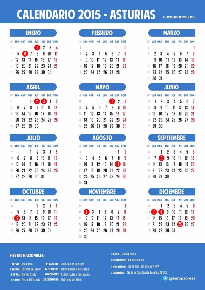 Calendario laboral para 2015 de Asturias