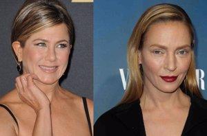 Foto: A Jennifer Aniston también le traicionó el maquillaje a lo Uma Thurman (EUROPA PRESS)