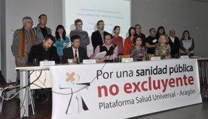 Foto: PSOE, CHA, IU y PAR se comprometen con el derecho universal a la salud (EUROPA PRESS)