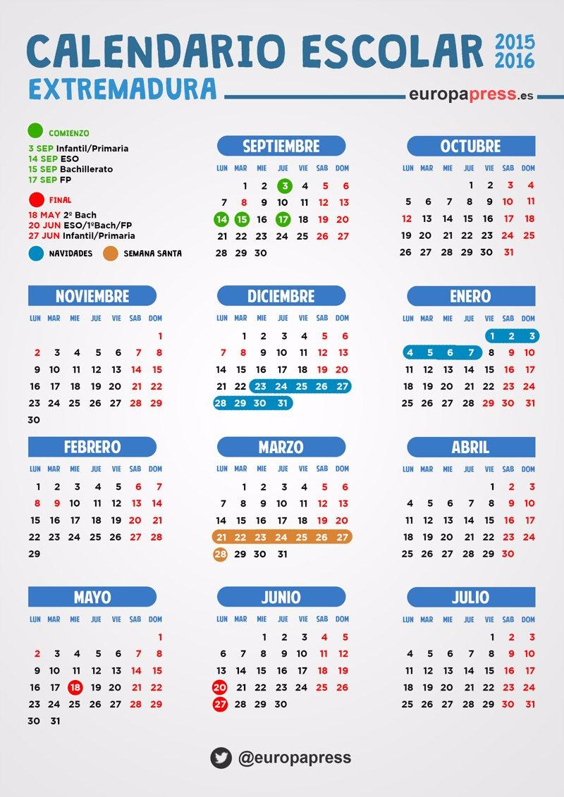 Calendario escolar 2015/2016 en Extremadura: festivos, puentes y ...