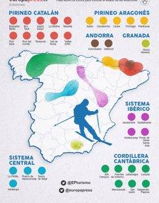 Mapa de las estaciones de esquí de España | Estado de la nieve
