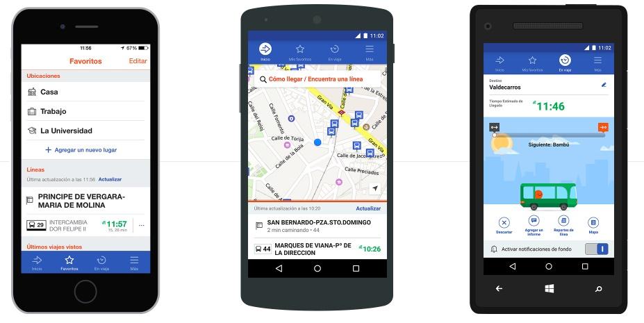Tres pantallas distintas de UrbanStep mostrándose en un iPhone.
