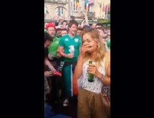 Serenata de la afición irlandesa a una mujer francesa
