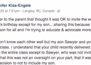 Carta de una madre con niño de síndrome de down que no fue invitado a una fiesta