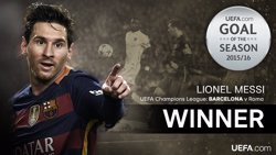 Messi torna a guanyar el premi de la UEFA al millor gol en la temporada 2015-16 (UEFA)