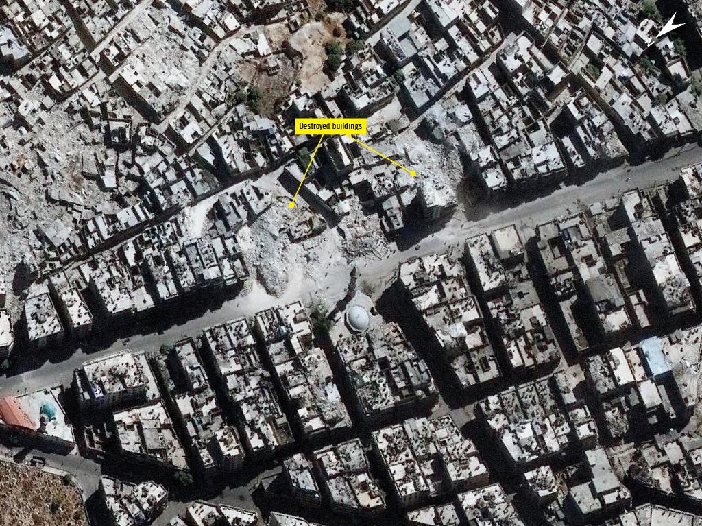 Imagen vía satélite de zonas bombardeadas por el régimen sirio en Alepo.