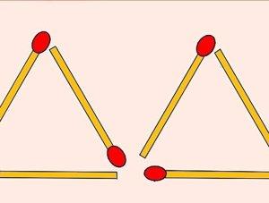 Reto mental: hacer cuatro triángulos con seis cerillas