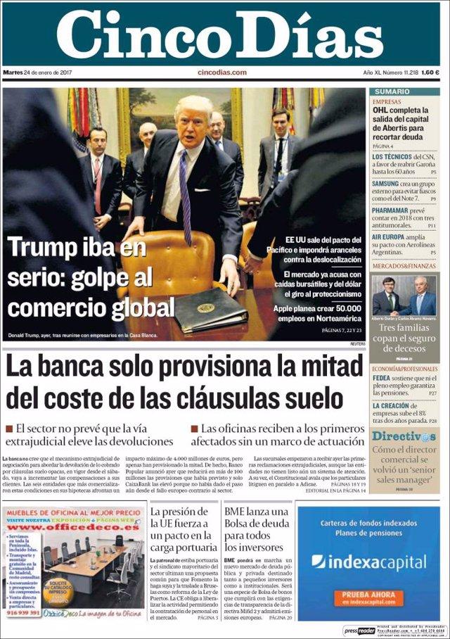 Las portadas de los peri dicos econ micos de hoy martes for Clausula suelo caixabank