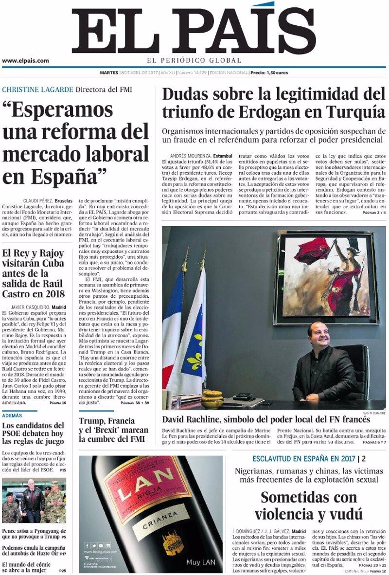 Las portadas de los peri dicos de hoy martes 18 de abril Ultimas noticias de espectaculos internacionales