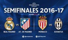Reial Madrid-Atlètic i Mònaco-Juventus, semifinals de 'Champions' (Europa Press)