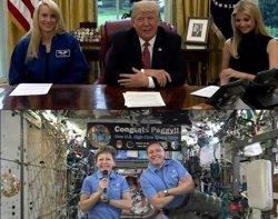 Peggy Whitson bat rècord a l'espai dels Estats Units i Trump la felicita (NASA TV)